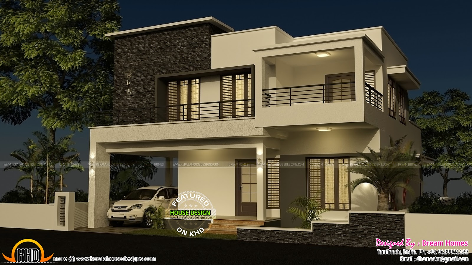 4 bedroom modern house with plan kerala home design and for Flat roof elevation