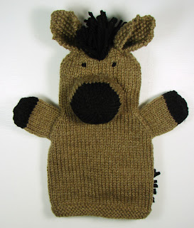 hand knit hand puppets toy animals farm horse