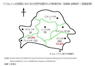 ベラルーシ共和国における小児甲状腺がんの地域分布(1986-1996年:508症例)
