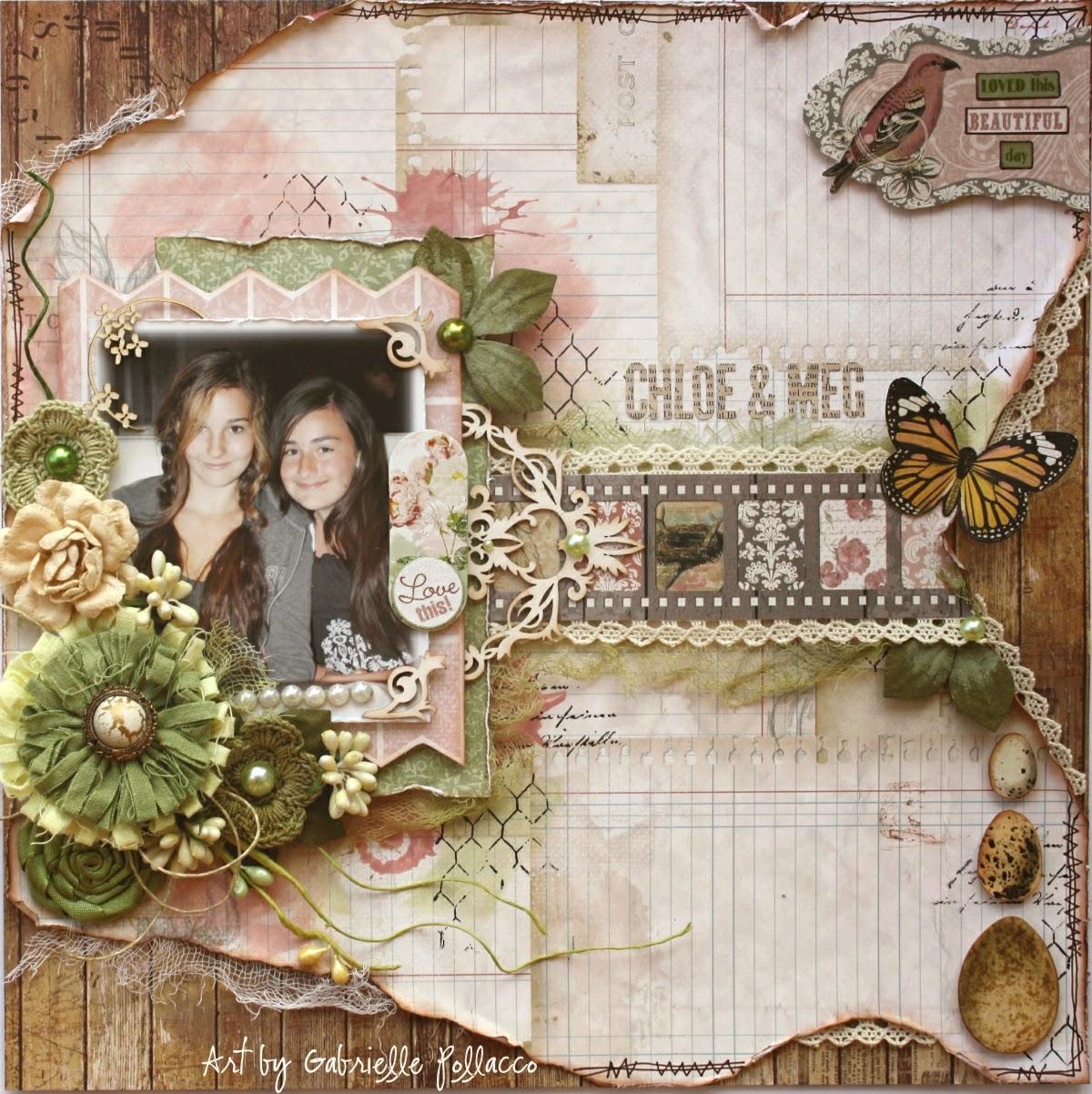 Scrapbook page by Gabrielle Pollacco using Bo Bunny's Garden Journal collection mixed with Heritage, Star-crossed and Sweet Life