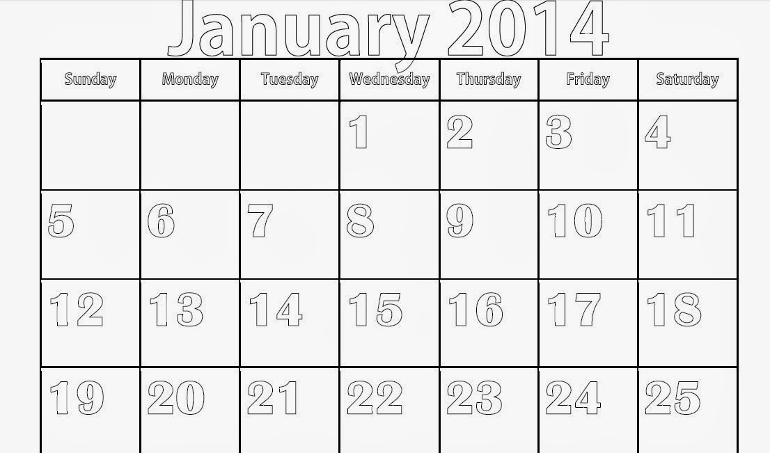 Blank January 2014 Calendar To Print Printable Calendar 2014