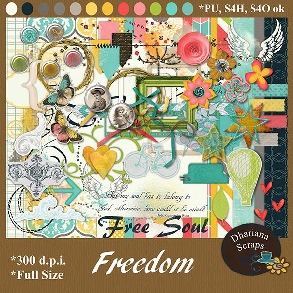 "Free scrapbook kit ""Freedom"" from Dhariana Scraps"