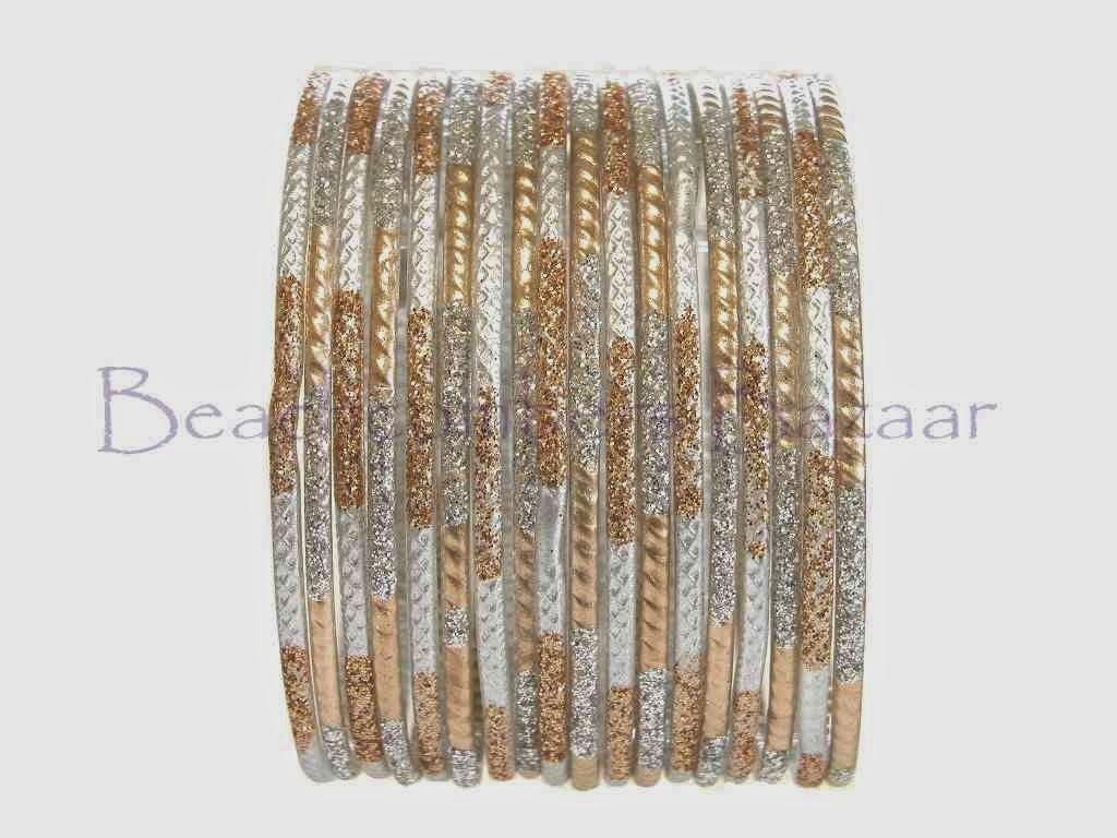 Matte texture silver and gold glass bangles