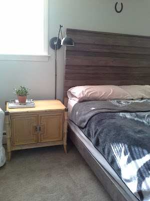 Master bedroom nightstands Rustic Headboard Hollywood Regency