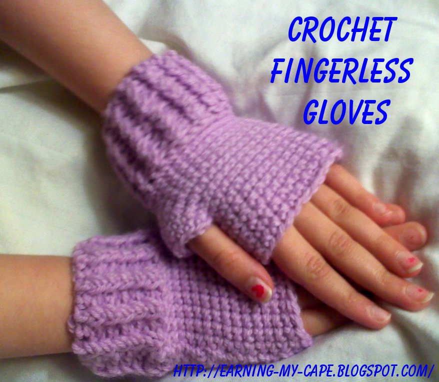 Free Crochet Pattern Gloves Fingerless : Earning-My-Cape: Kids Fingerless Gloves (free crochet pattern)