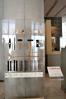 A display of tools of the marble worker in the new acropolis museum