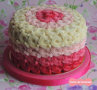 Tarta Degradado (ombre cake) de Vainilla y Frambuesa
