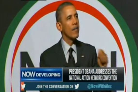 Obama speaks at Al Sharpton's headquarters in Harlem. (Screen capture from YouTube  video)