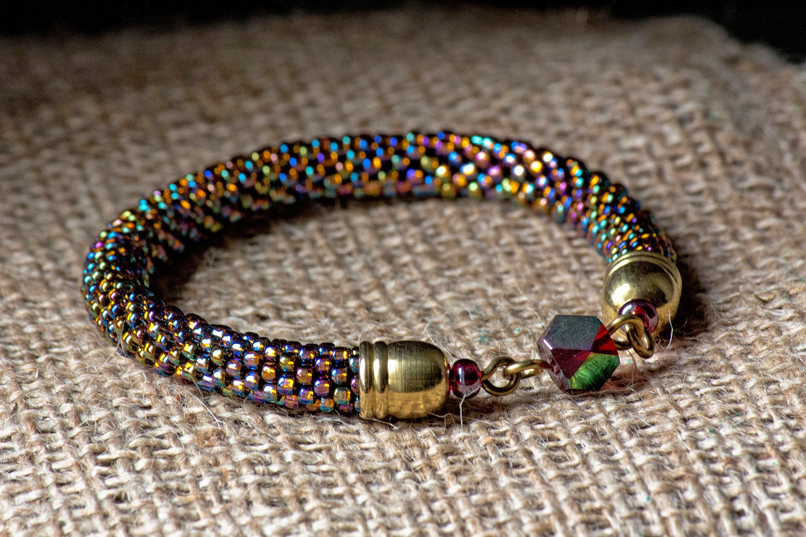 etsy shop beads crochet crocheted rope handmade handcrafted jewellery bracelet jewelry beadwork rainbow seed beads czech fashion chic