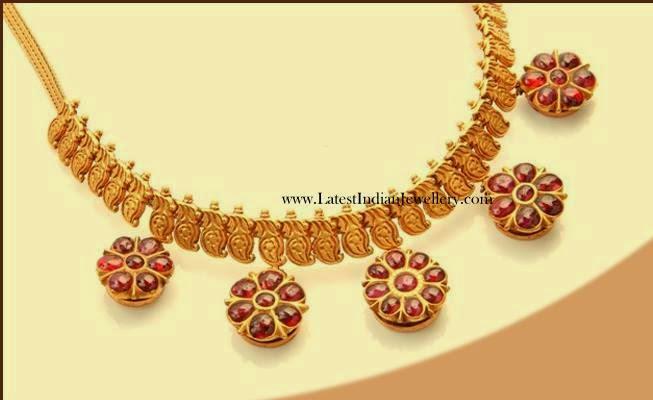 Antique Ruby Pendants Mango Necklace