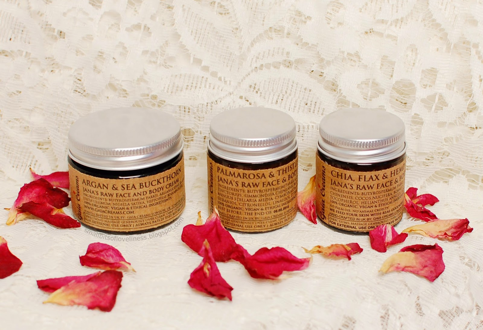 Gaia Creams Argan & Sea Buckthorn, Palmarosa & Thistle, Chia, Flax & Hemp Raw Face & Body Cream