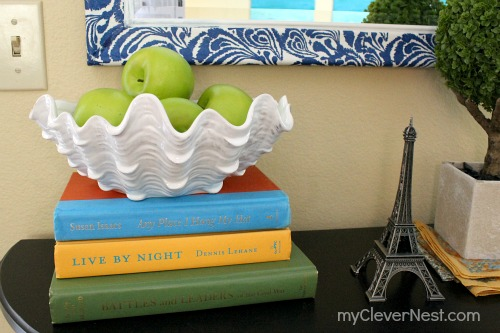 snappy mirror upcycle using napkins from Target and mod podge! clever nest