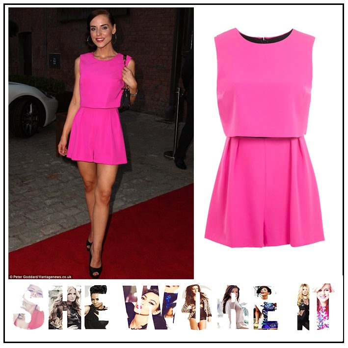 Flared, Hollyoaks, Hot Pink, Miss Selfridge, Overlay, Playsuit, right, Sleeveless, Stephanie Waring,