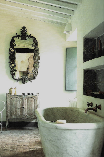 carved mirror and wood vanity, Italian Country Living, edited by lb for linenandlavender.net
