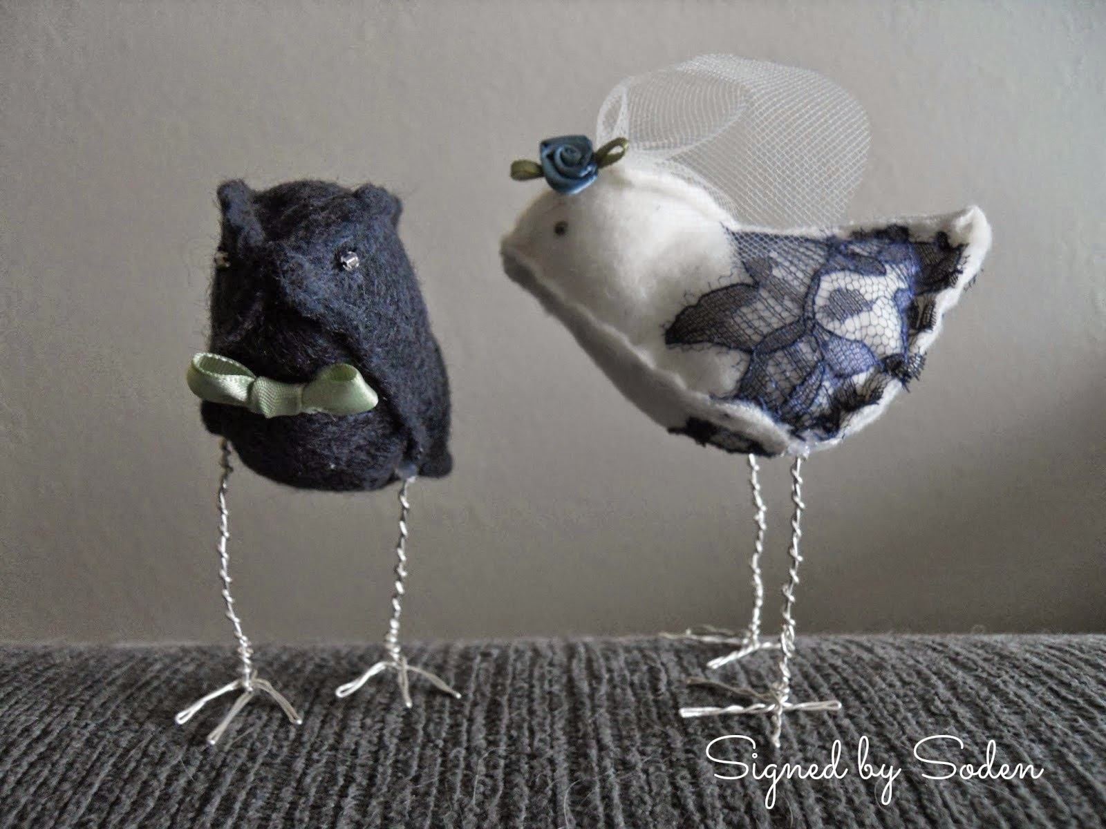 Felt bird wedding cake topper