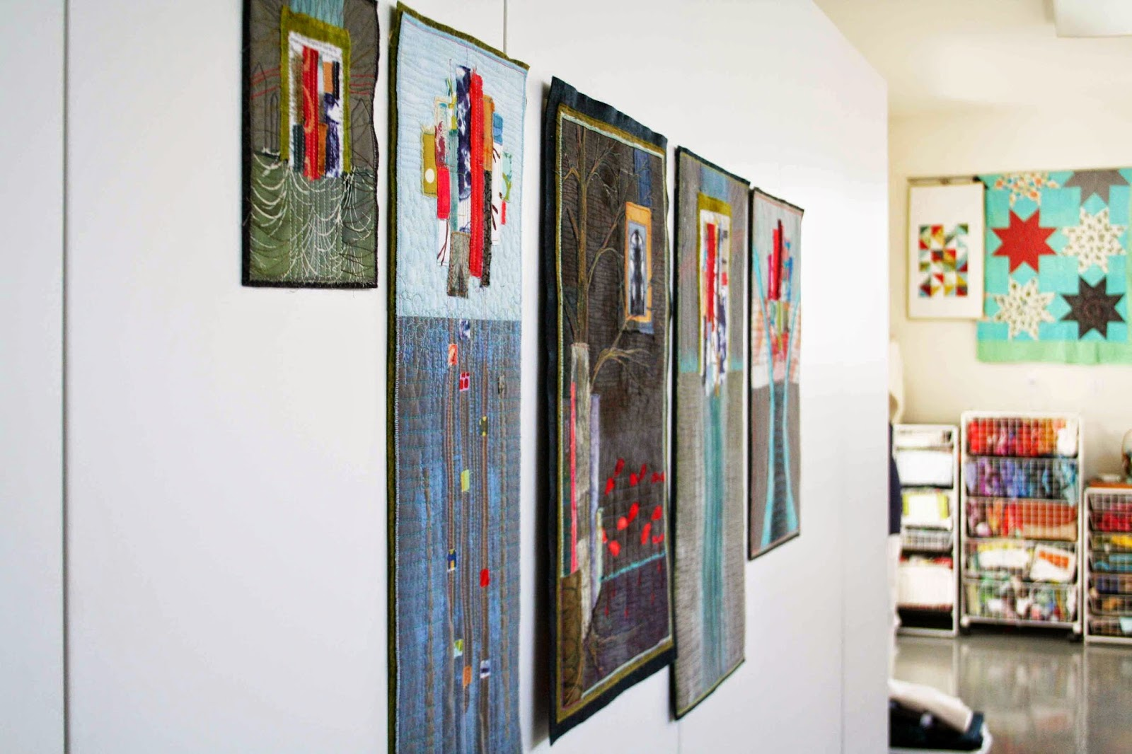 """beautiful collection of art quilts based on a sermon series titled """"Wisdom"""" by Jennifer of Fibermusing"""