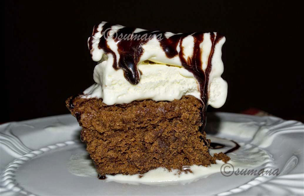 walnut brownie with vanilla icecream and chocolate sauce