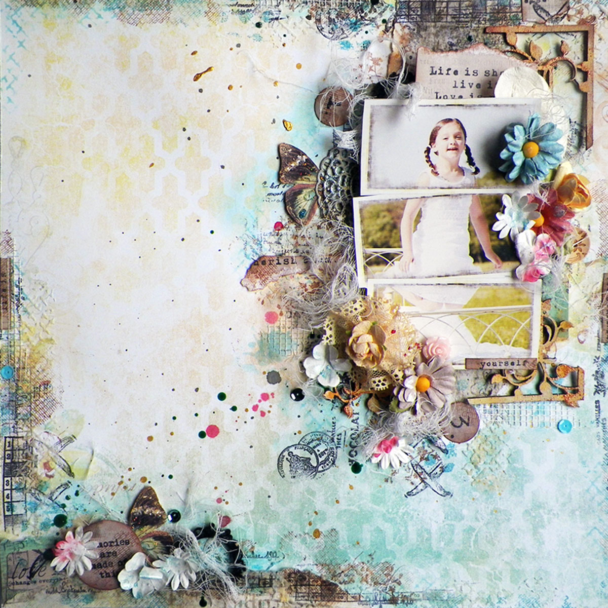 "Life Is Short Layout by Lisa Novogrodski for Scraps of Elegance using the March Kit ""Annas DayDream"""