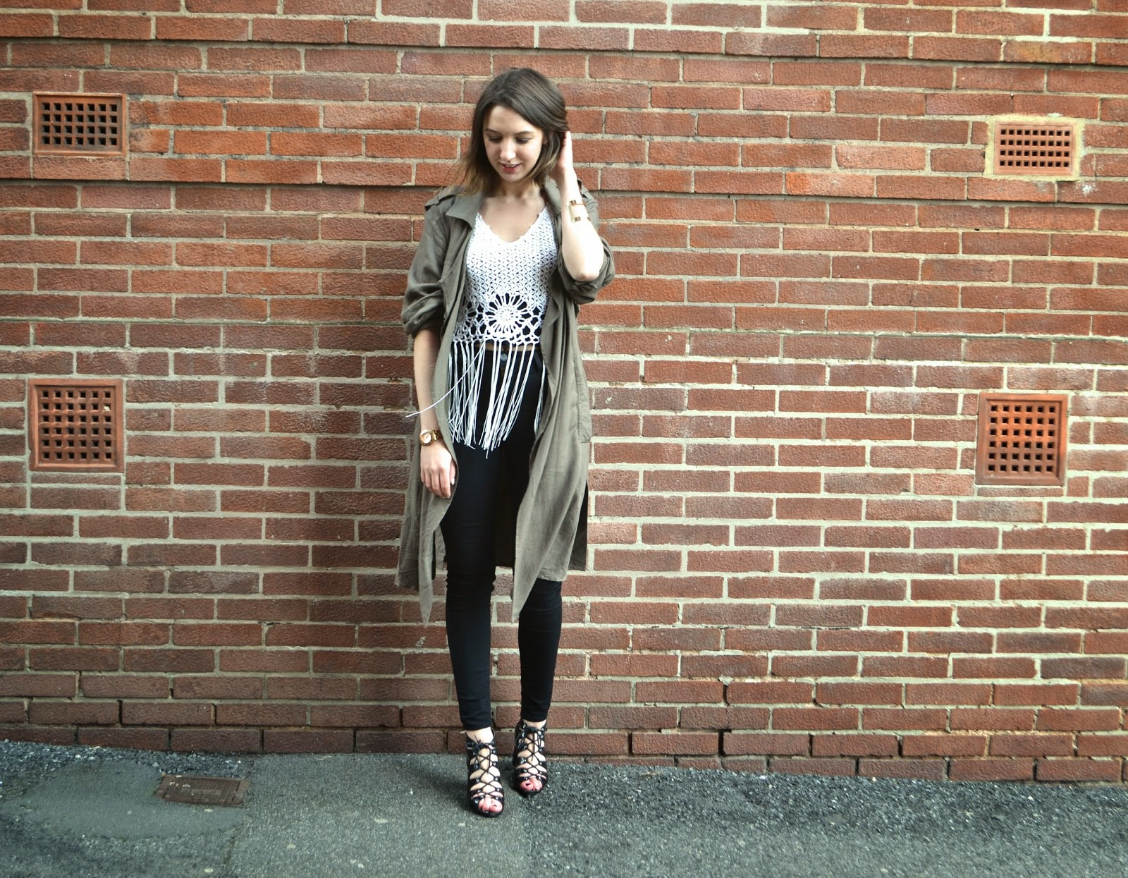 Khaki and Fringe Outfit Post - Fashion