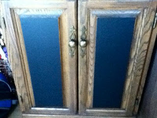 Kitchen cabinets and chalkboard contact paper