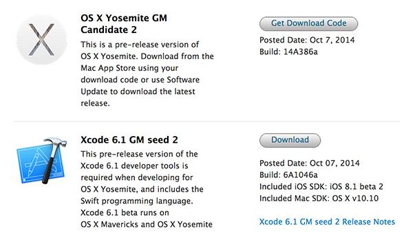 Mac Xcode 6.1 GM 2 (6A1042b), OS X 10.10 Yosemite GM Candidate 2.0 (14A386a), OS X 10.10 Yosemite Public Beta 5 (14A386b)