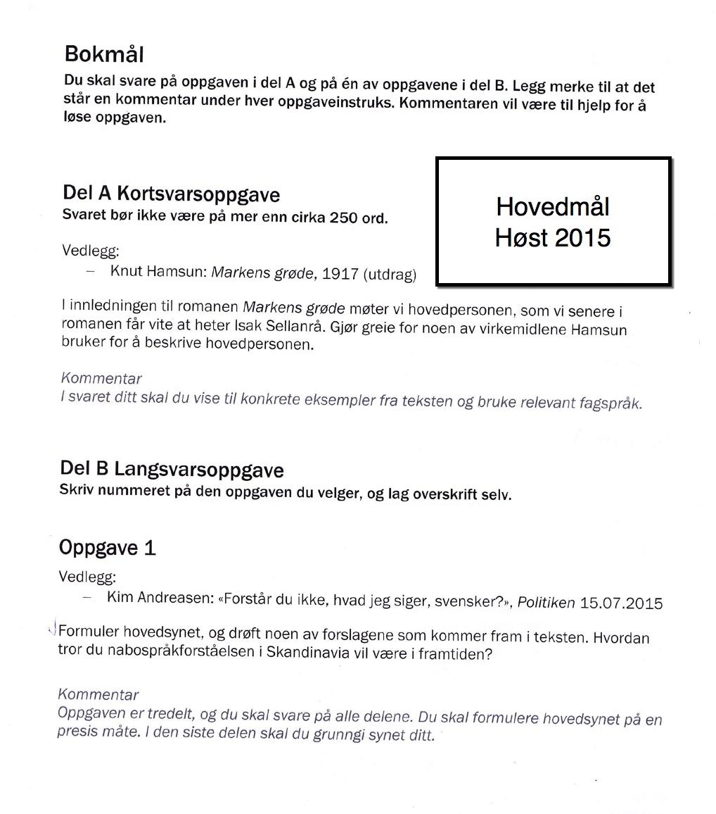 Norsk sidemål eksamen 2015