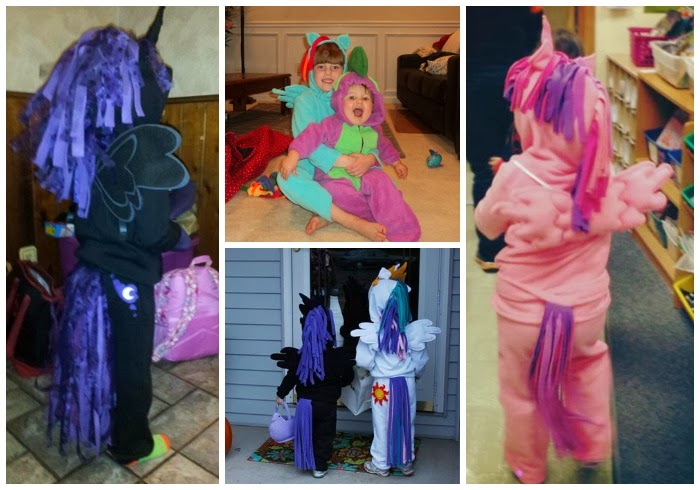 DIY My Little Pony children's costumes - Nightmare Moon, Celestia, Cadence, Spike