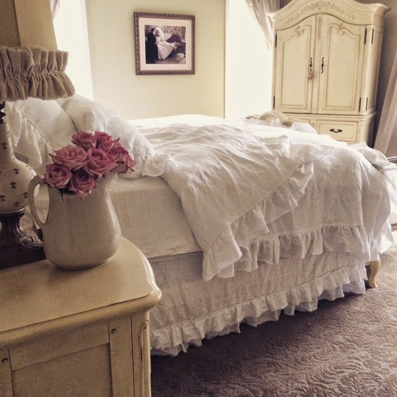 Little farmstead rustic linen ruffled bedding for Frilly bedspreads
