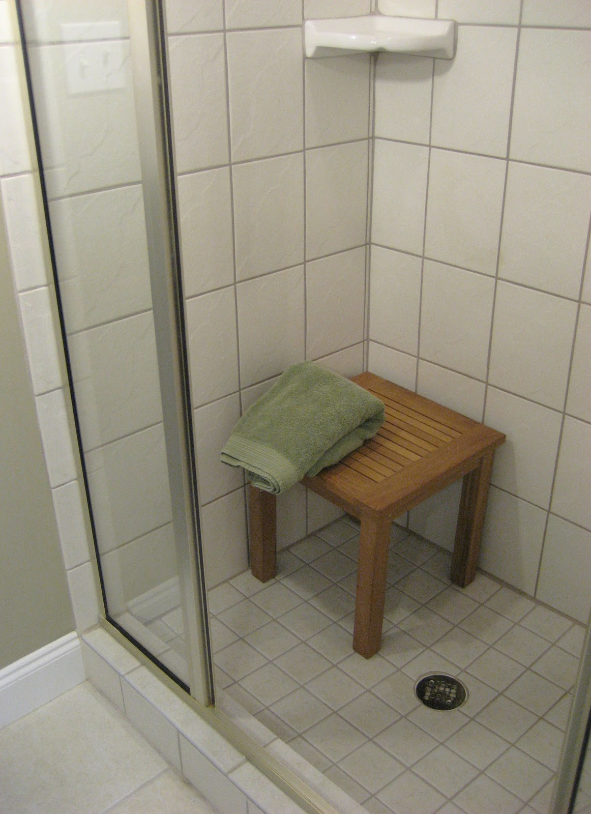 Teak shower chair with back - Teak Shower Seat