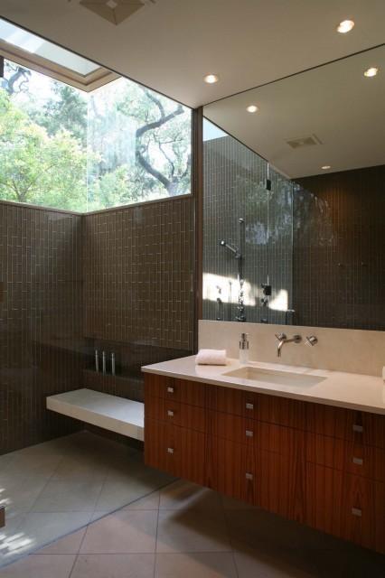 Popular modern bathroom design by austin architect Dick Clark Architecture
