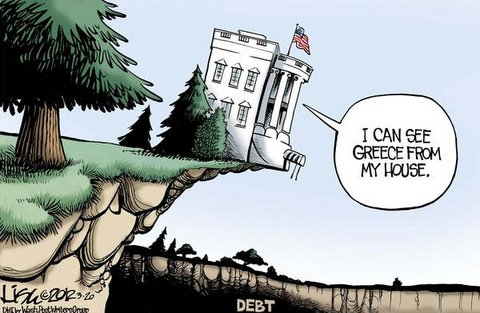 obama runs country off a cliff cartoons