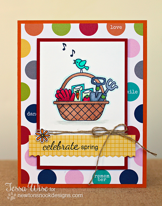 Garden Basket card by Tessa Wise for Newton's Nook Designs