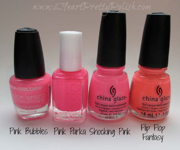 essie pink parka china glaze shocking pink china glaze flip flop fantasy neon pink