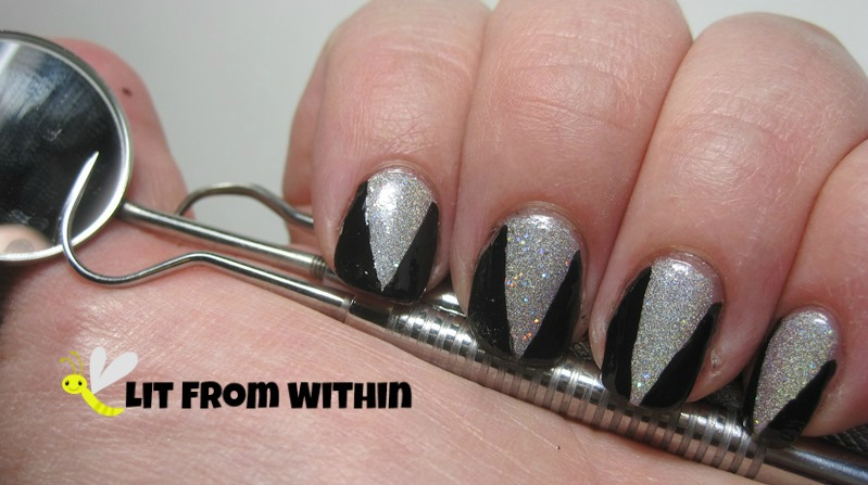 Dental Tartar Scraper and Remover Set -inspired nail art with Orly Mirrorball and Milani Black Swift