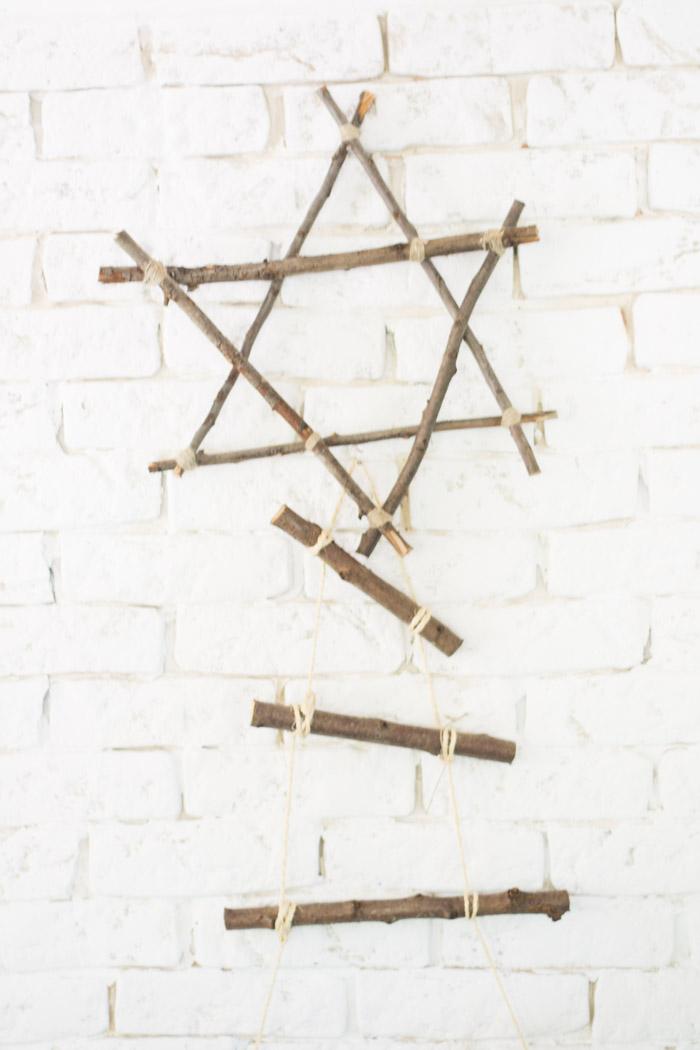 Árbol y estrella de Navidad con palos diy