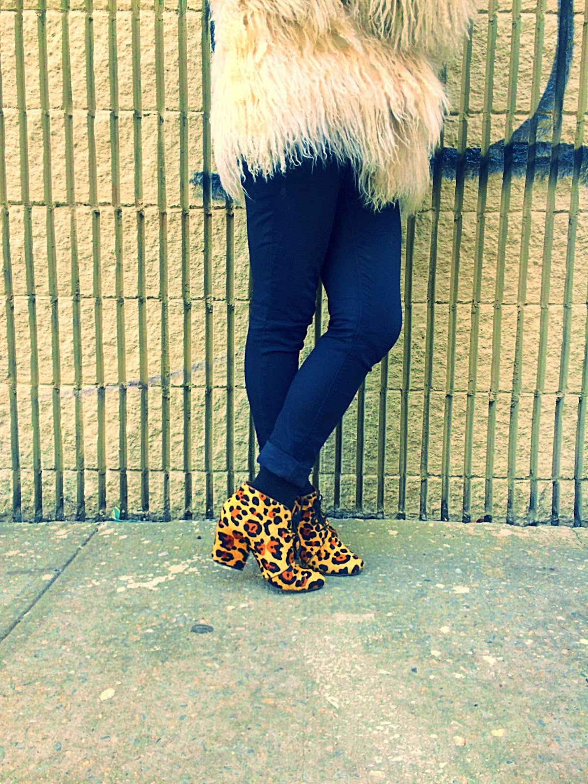 Kate Spade leopard booties, vintage coat and leopard, shaggy coat leopard, wearing leopard boots, Brooklyn rock n roll style, rocknroll outfit