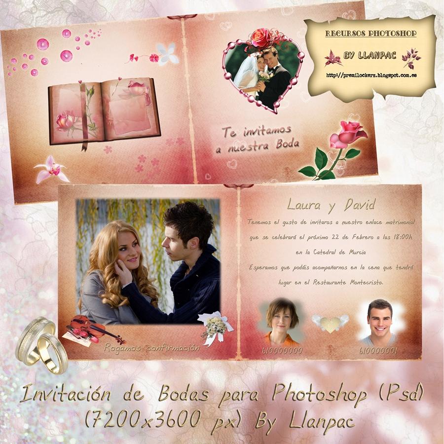 Recursos Photoshop Llanpac: Invitacion de boda para Photoshop (Psd+Png)