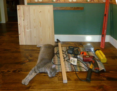 built-in kitchen nook table, materials, tools, & cat assembled