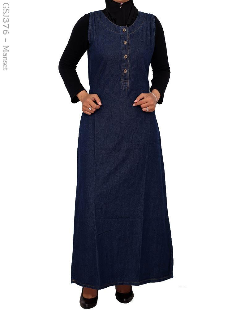 Gamis jeans muslimah gsj376 busana muslim murah terbaru Suplier baju gamis remaja harga pabrik bandung