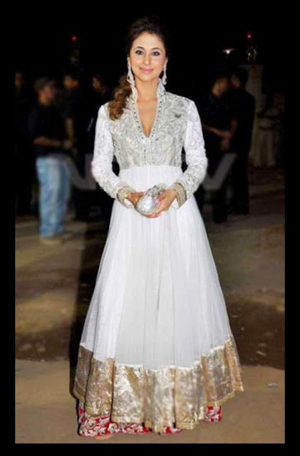 1829 - Urmila Matondkar White Royal Anarkali Suit