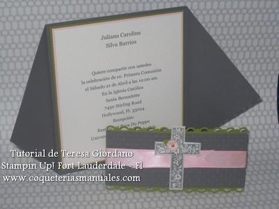 Coqueterias manuales tutorial invitacion para primera - Hacer tarjetas de comunion ...