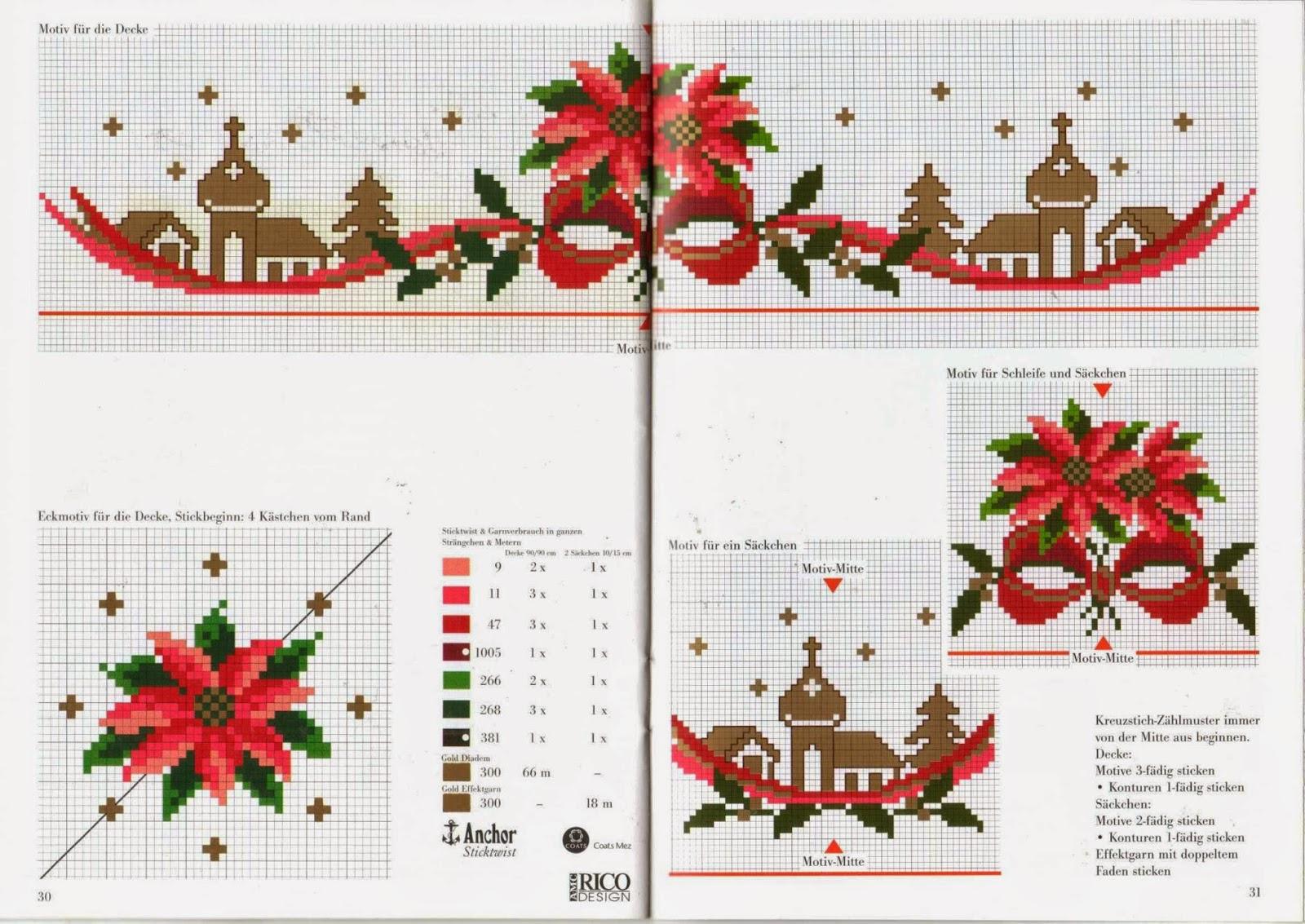 Схемы для вышивки крестом новогодние на скатерти 963