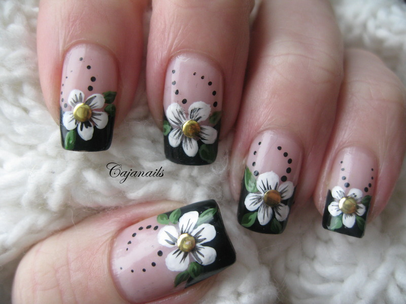 Cajanails Nailart: Black french tip with flower and studs