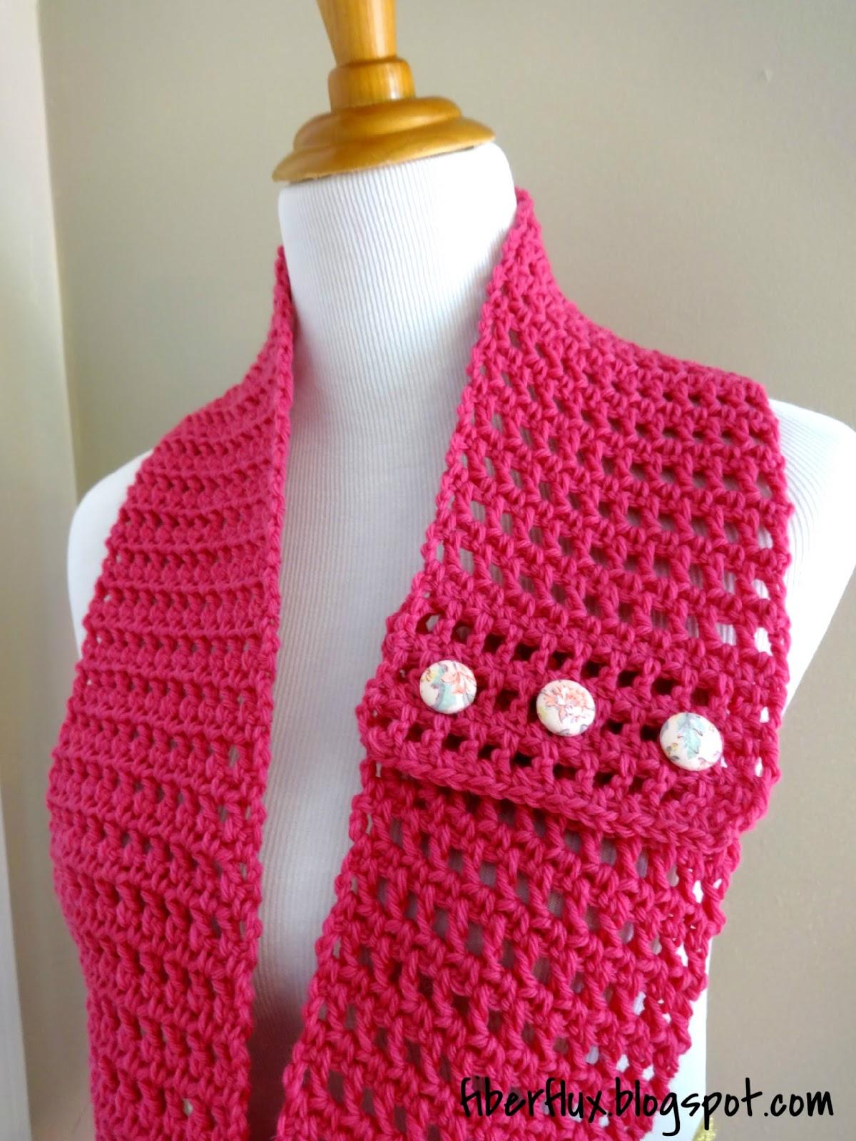 Fiber Flux: Free Crochet Pattern...Honolulu Button Scarflette!