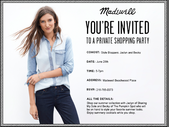 Madewell private shopping party