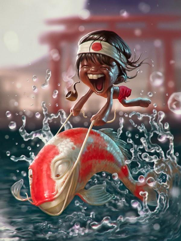 illustration de Tiago Hoisel représentant un enfant chevauchant un poisson