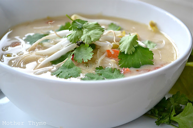 Slow Cooker Thai Chicken Noodle Soup | Mother Thyme