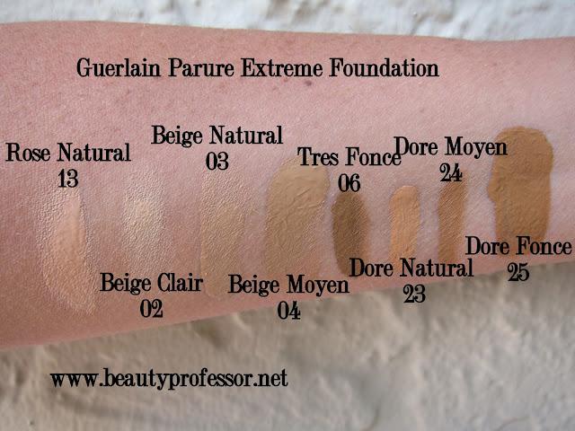 Guerlain Parure Extreme Foundation swatches
