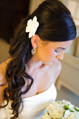 gardenia hair flower, white bridal hair flower
