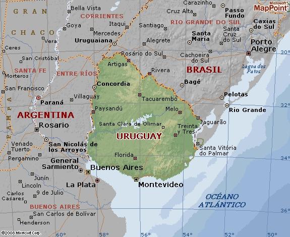 Mapa geográfico de Uruguay